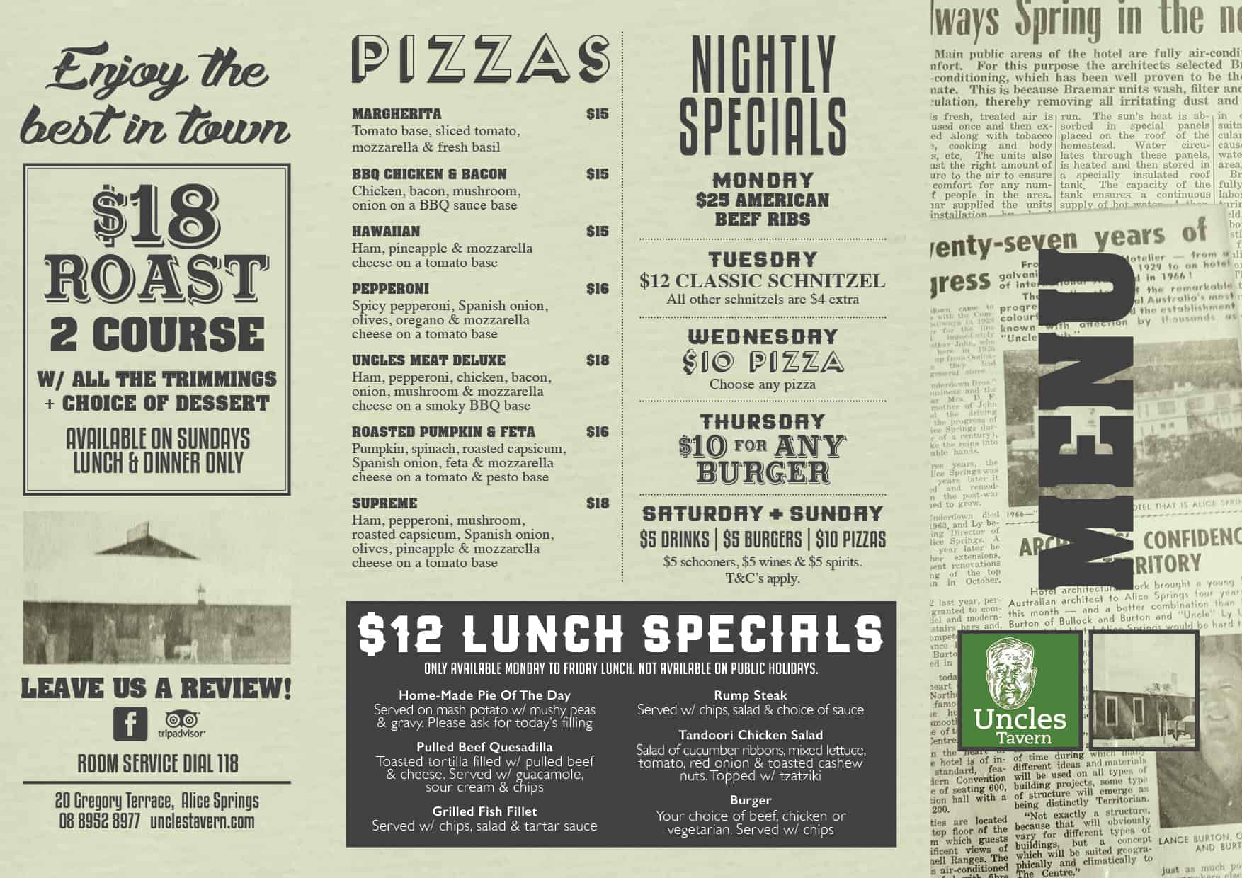 Uncles NOV Menu Green A42 - Uncles Tavern
